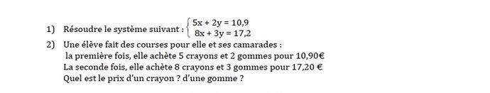 systèmes de deux équations