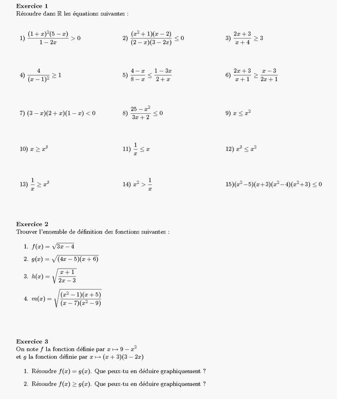 Hervorragend Exercices sur les équations et les inéquations série 9 PB59