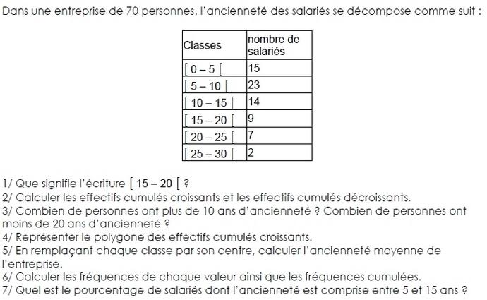 Statistiques-caractère continu. : exercices en 4ème.