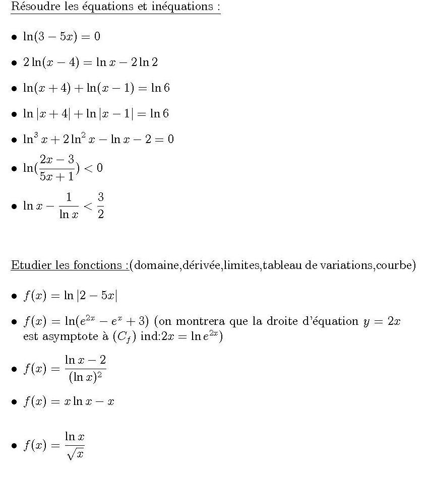 Maths Dm sur les Ln Terminale Mathématiques