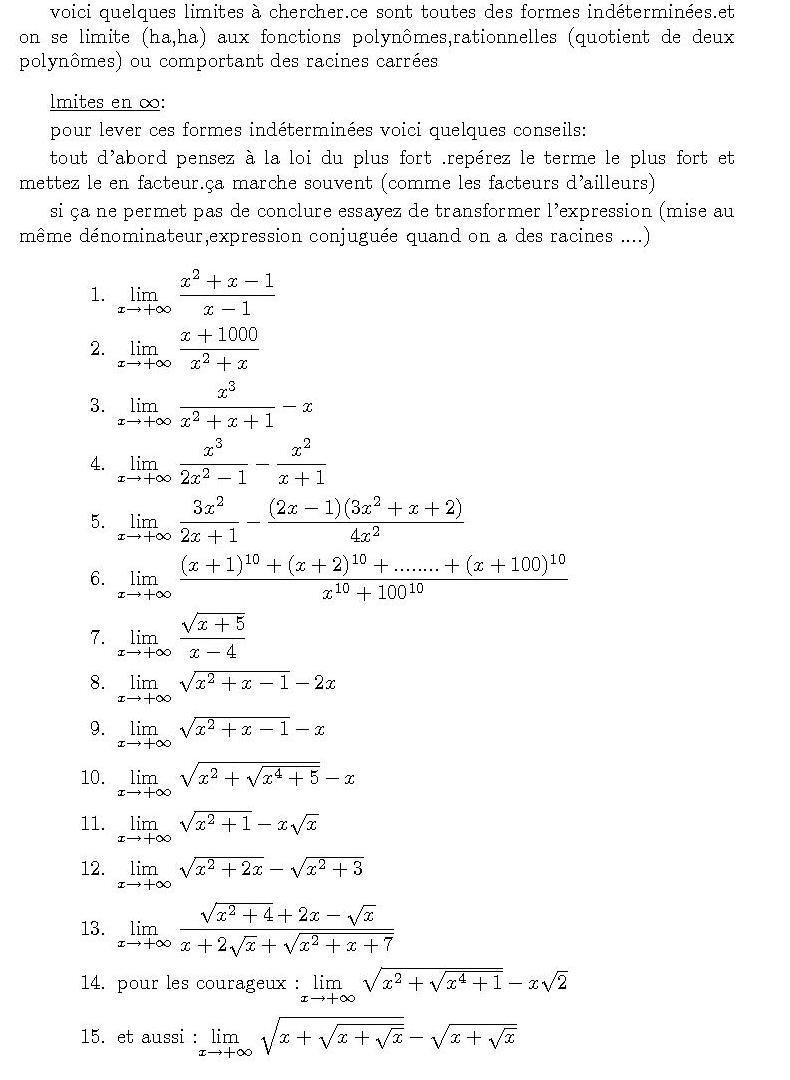Limites et asymptotes : exercices de maths en terminale S