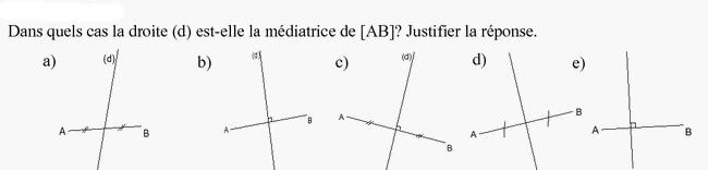 Médiatrice d'un segment et justification : exercices en 6ème.