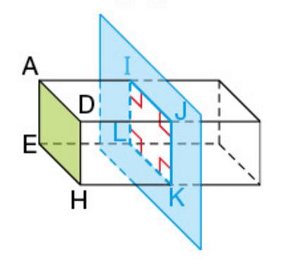 section-parallelepiAsection d'un parallélépipède rectangle par rapport à une face