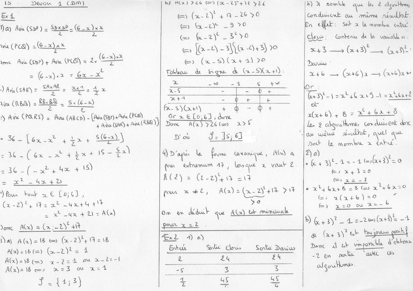 Première partie du devoir de mathématique 3ème Mathématiques