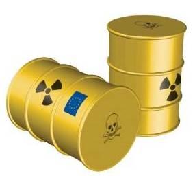 Un fût de déchets radioactifs