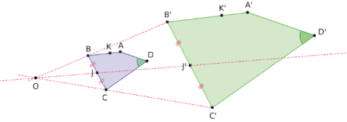 Image d'un quadrilatère par une homothétie.
