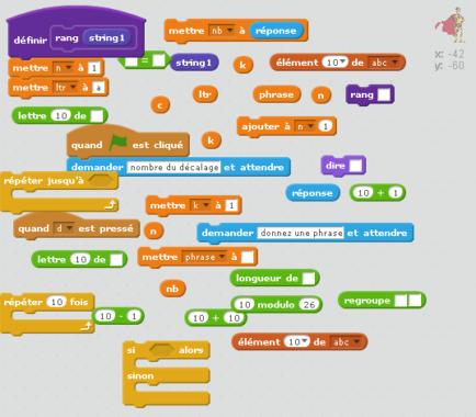 Aide au code de César avec Scratch.