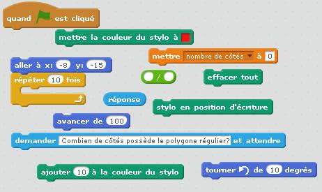 Aide à tracer un polygone régulier avec Scratch.