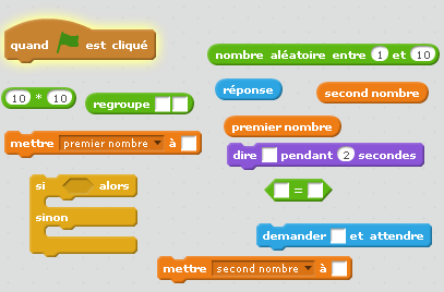 Aide à la table de multiplication avec Scratch.