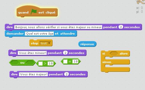 Aide au test de mineur ou majeur avec Scratch.