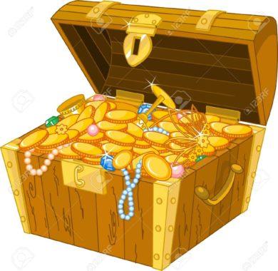 caisse remplie de pieces d'or